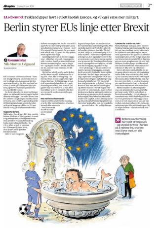 Stanghelle om EU i Aftenposten
